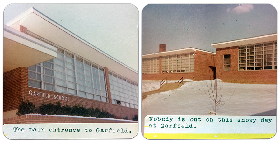 Two color photographs of Garfield Elementary School taken in January 1977. There is snow on the ground. One photograph shows the classroom windows close the main entrance and has a caption that reads: The main entrance to Garfield. The second photograph is of a separate classroom wing on the building, possibly taken from the area that is now the courtyard. The caption on this photograph reads: Nobody is out on this snowy day at Garfield.